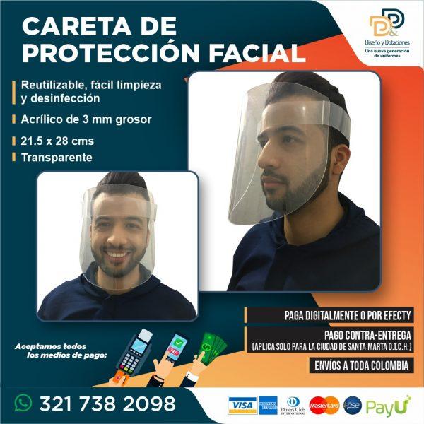 Careta Visor acrílica Protección Facial