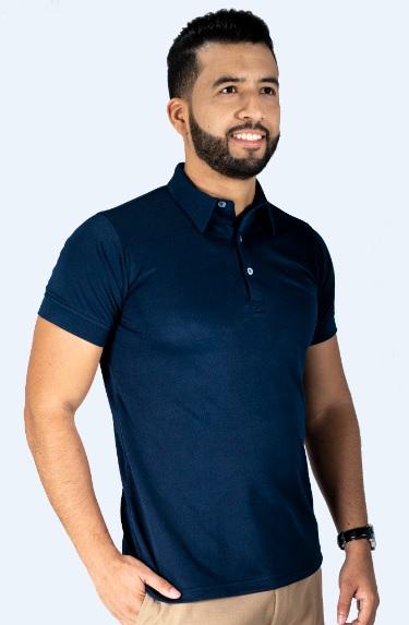 Sueter tipo polo azul turqui hombre calidad premium textil Polux de Lafayette